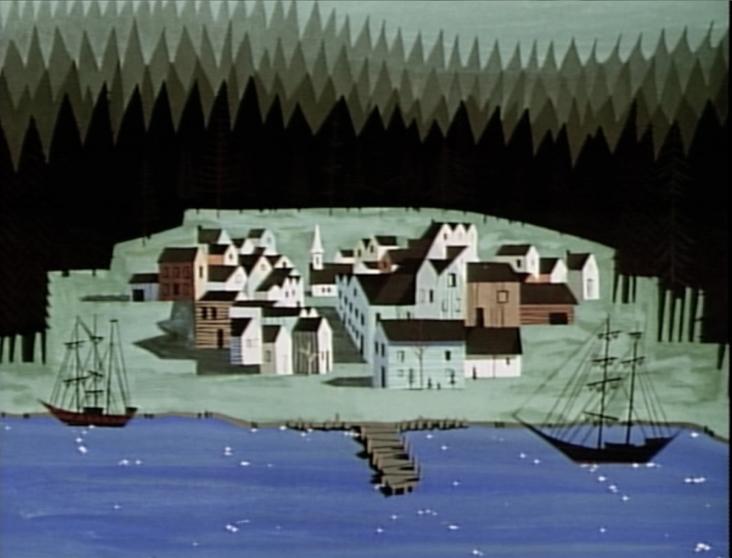 Scene from Disney's Paul Bunyan, styled by Eyvind Earle and Walt Peregoy